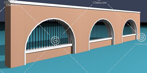 小区围墙3D模型下载