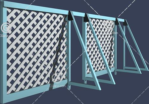 金属围墙3D模型下载