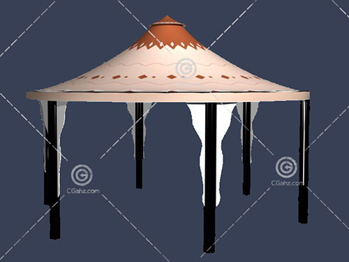 圆形的五角亭子3D模型下载