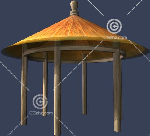 圆形的木头亭子3D模型下载