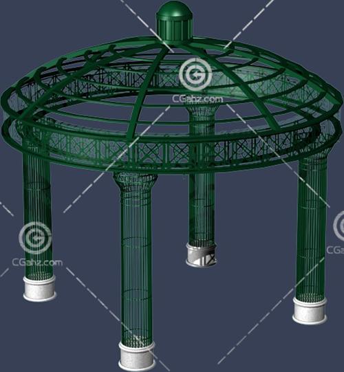 金属材质的圆形亭子3D模型下载