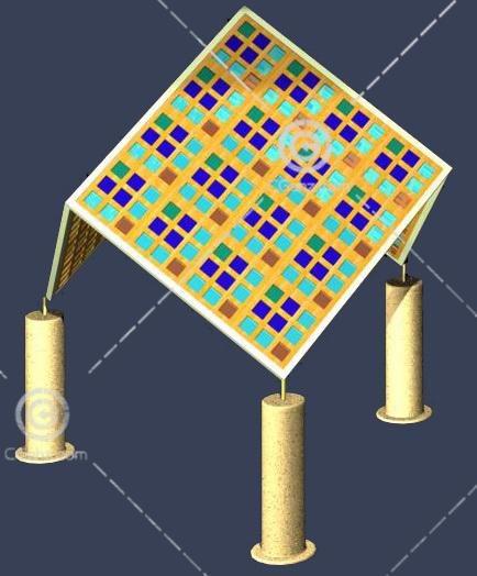 带有彩色顶棚的亭子3D模型下载