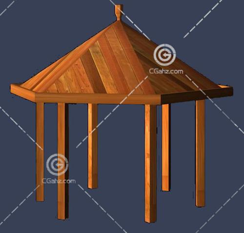 纯木头材质的亭子3D模型下载