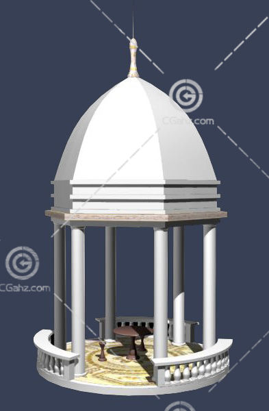 欧式的圆形亭子3D模型下载