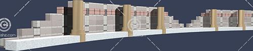 带有柱子的围墙3D模型下载