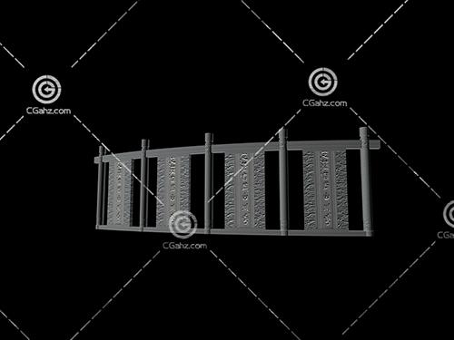 石材结构的景墙3D模型下载