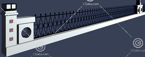 带有栏杆的围墙3D模型下载