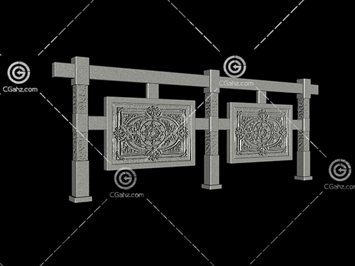 中式景墙3D模型下载