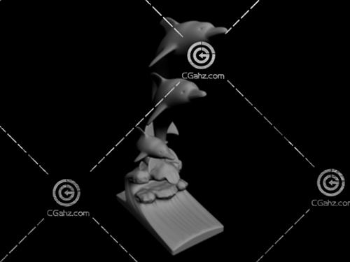 海豚雕塑模型下载