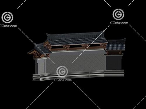带瓦片的中式围墙模型下载