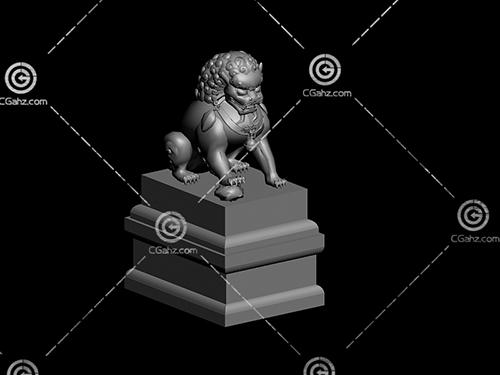 石狮子雕塑模型下载