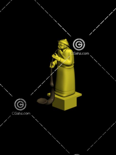 演奏乐器的人物雕塑模型下载