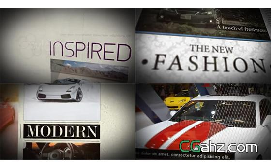现代风图文版面或宣传海报的设计演示AE模板