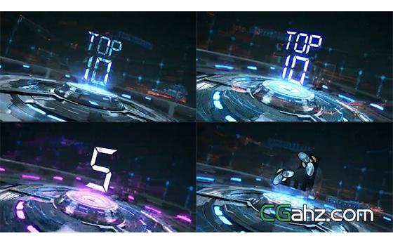 三维机械台投射出全息样式的文字或标志AE模板