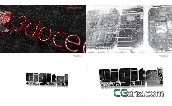 芯片电路板构建的3D数字标志演绎AE模板