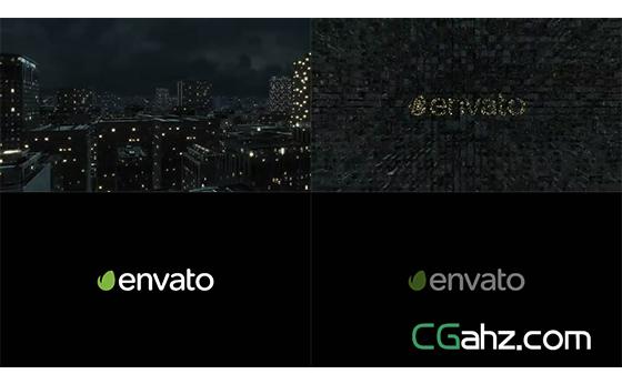 夜晚灯火辉煌的城市楼群揭示出logo标志AE模板