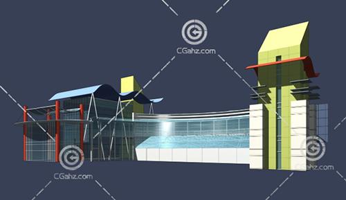 复杂的入口建筑3D模型下载