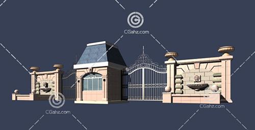 围墙大门3D模型下载