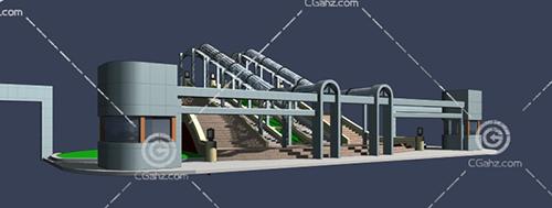 带有台阶的大门入口3D模型下载