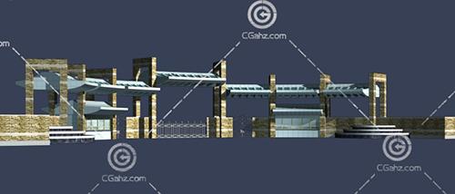 学校入口大门3D模型下载