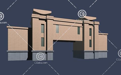 小区入口大门3D模型下载