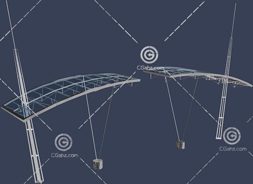 钢架结构的大门入口3D模型下载