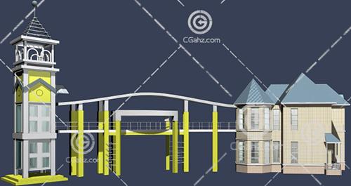 欧式建筑结构的大门入口模型下载
