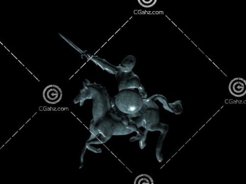 勇士骑马雕塑模型下载