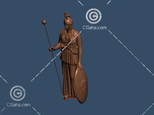 拿盾牌的人物雕塑模型下载