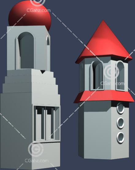 欧式大门入口建筑3D模型下载
