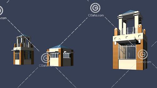 入口建筑3D模型下载