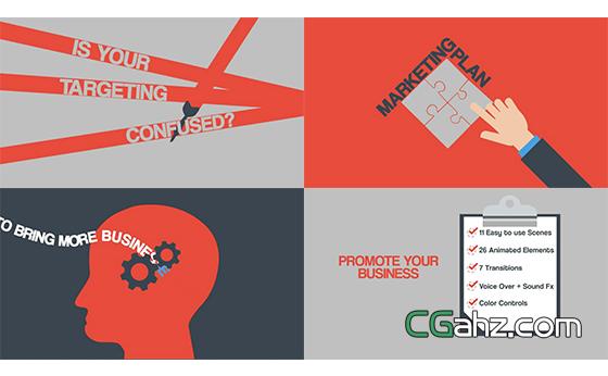 公司或企業的業務宣傳MG小動畫AE模板