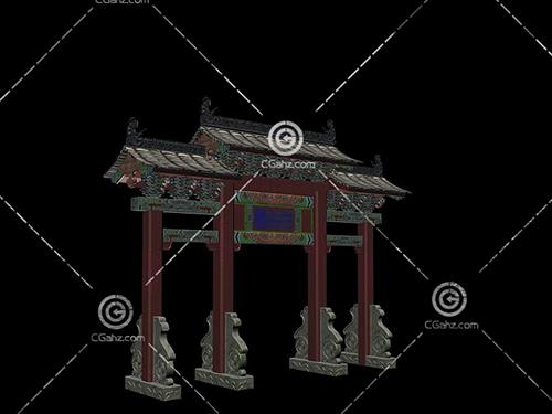 中式宮殿牌坊3D模型下載