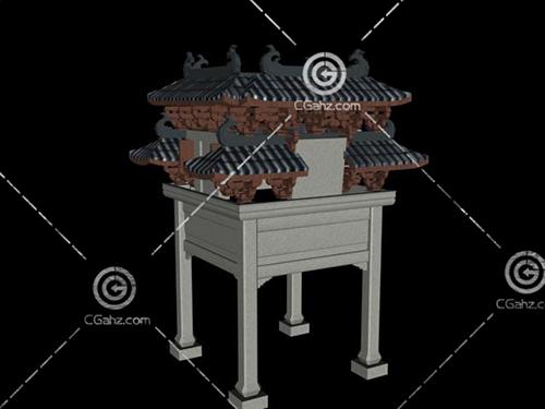 四個角的中式景觀牌坊3D模型下載