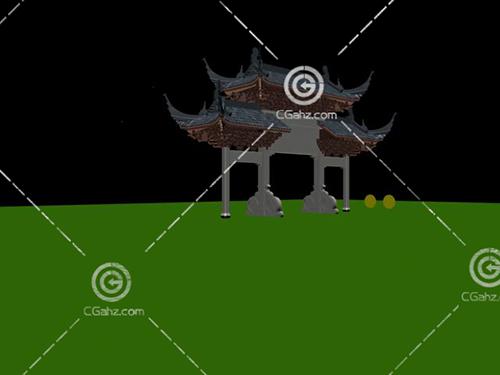 常見的中式景觀牌坊3D模型下載