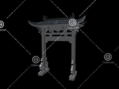 簡單的中式景觀牌坊3D模型下載