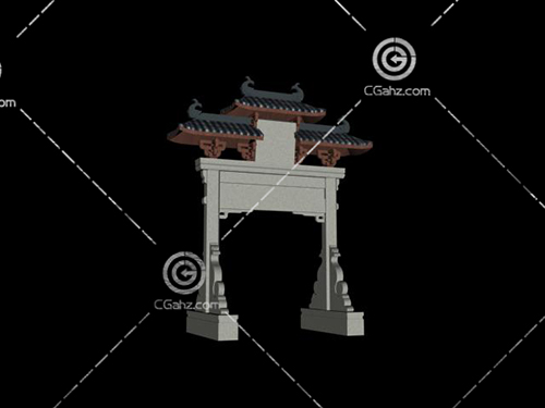 簡單的中式牌坊3D模型下載