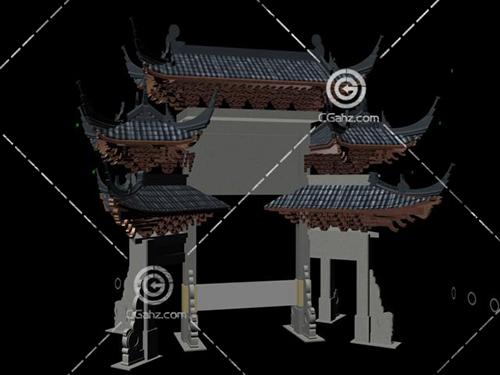 結構復雜的中式景觀牌坊3D模型下載