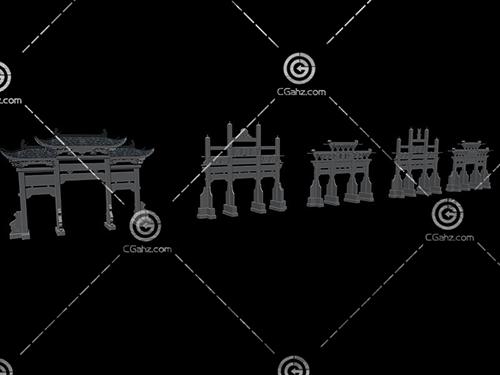 五個不同的牌坊3D模型下載