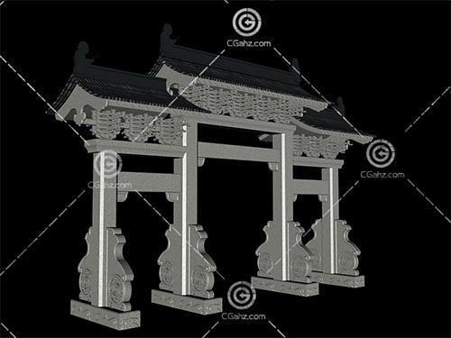 中式牌坊模型下載
