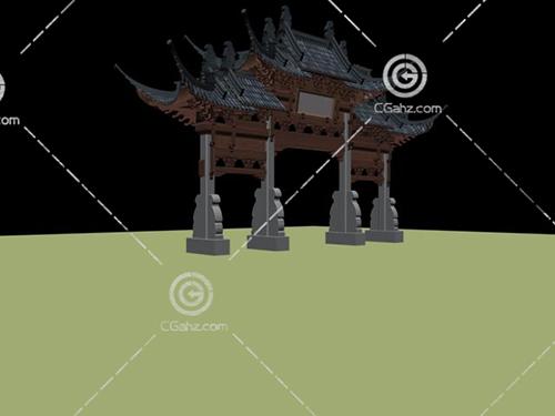 中式風格的牌坊3D模型下載