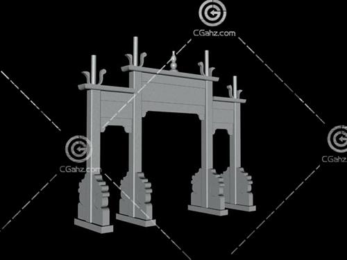 石材結構的牌坊模型下載