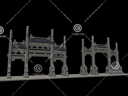 兩個不同的景觀牌坊3D模型下載