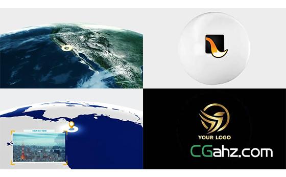 在地球上进行定位标记后揭示出logo标志的AE模板