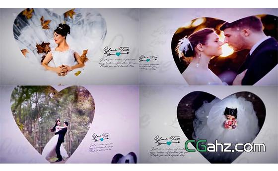 可愛愛心形狀的婚禮相冊AE模板