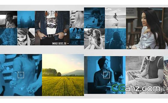 图像幻灯片的多种排版布局展示AE模板