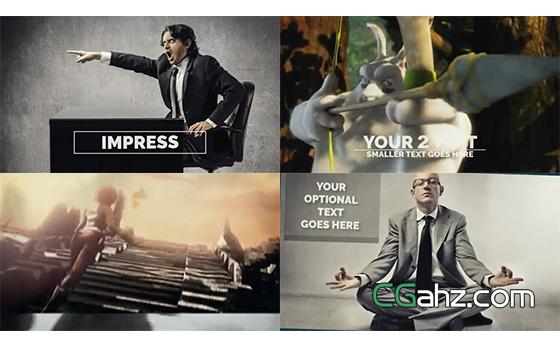 活泼的文字排版动画和图像内容交替展示的AE模板