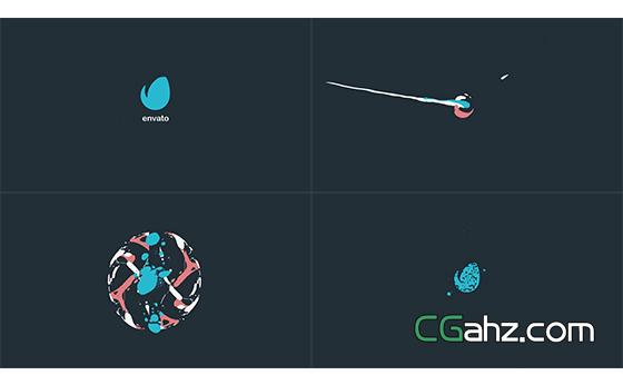 小巧的2D手绘流体气泡标志特效AE模板