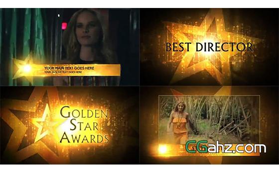 绚丽的金色星光颁奖典礼整体包装AE模板