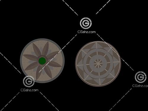 两块圆形铺地模型下载